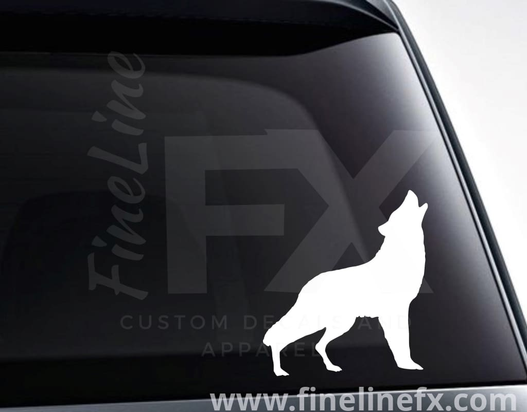 Howling Wolf Silhouette Vinyl Decal Sticker