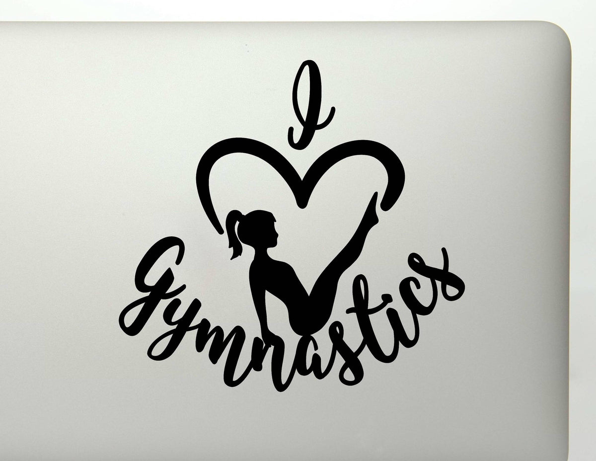 I Heart Gymnastics Gymnast Silhouette Vinyl Decal Sticker