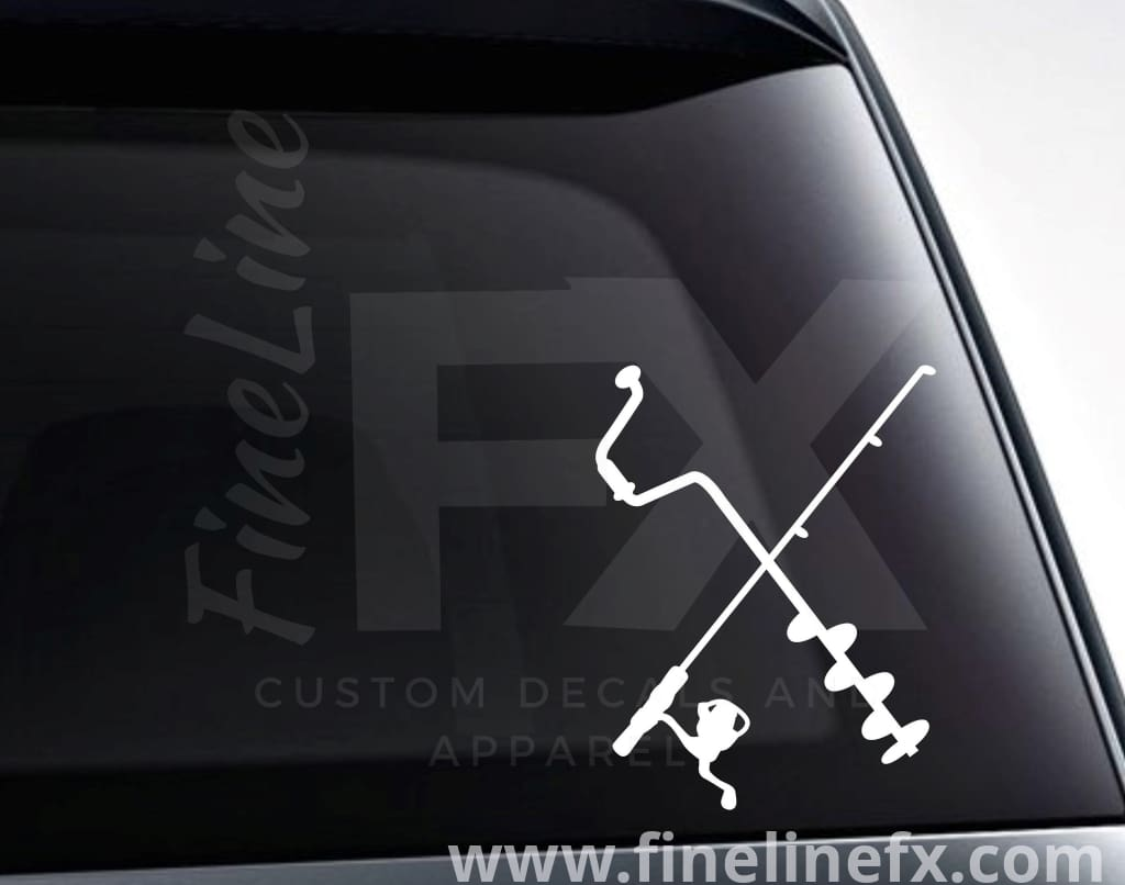 Ice Fishing Pole And Auger Vinyl Decal Sticker