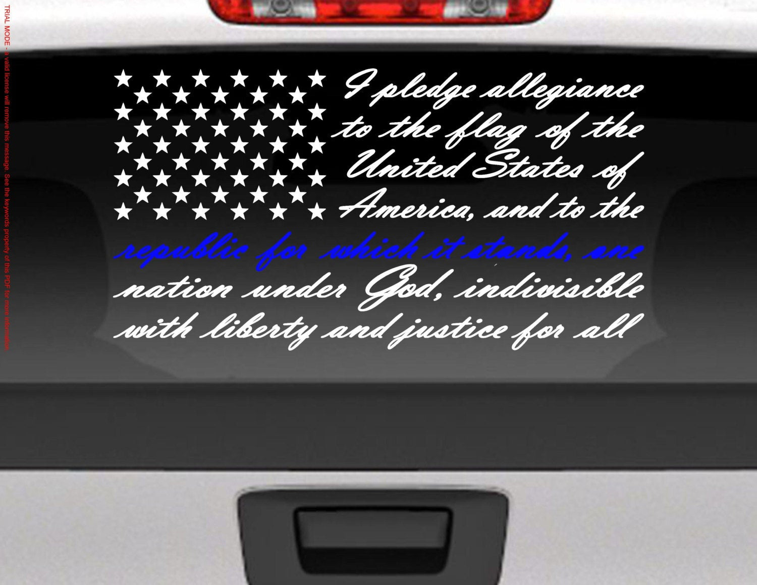 Pledge of Allegiance American Flag Vinyl Decal Sticker / Blue Line for Police Support