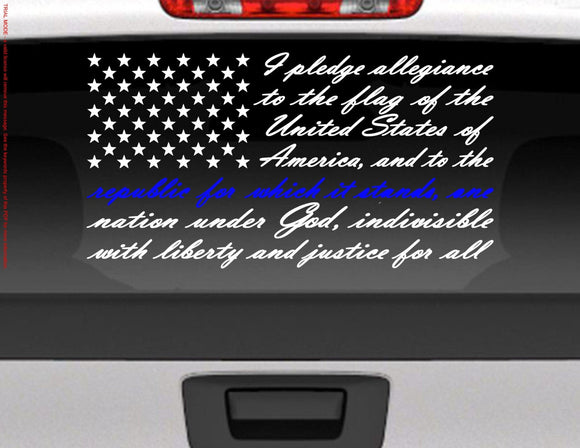 Pledge of Allegiance American Flag Vinyl Decal Sticker / Blue Line for Police Support - FineLineFX