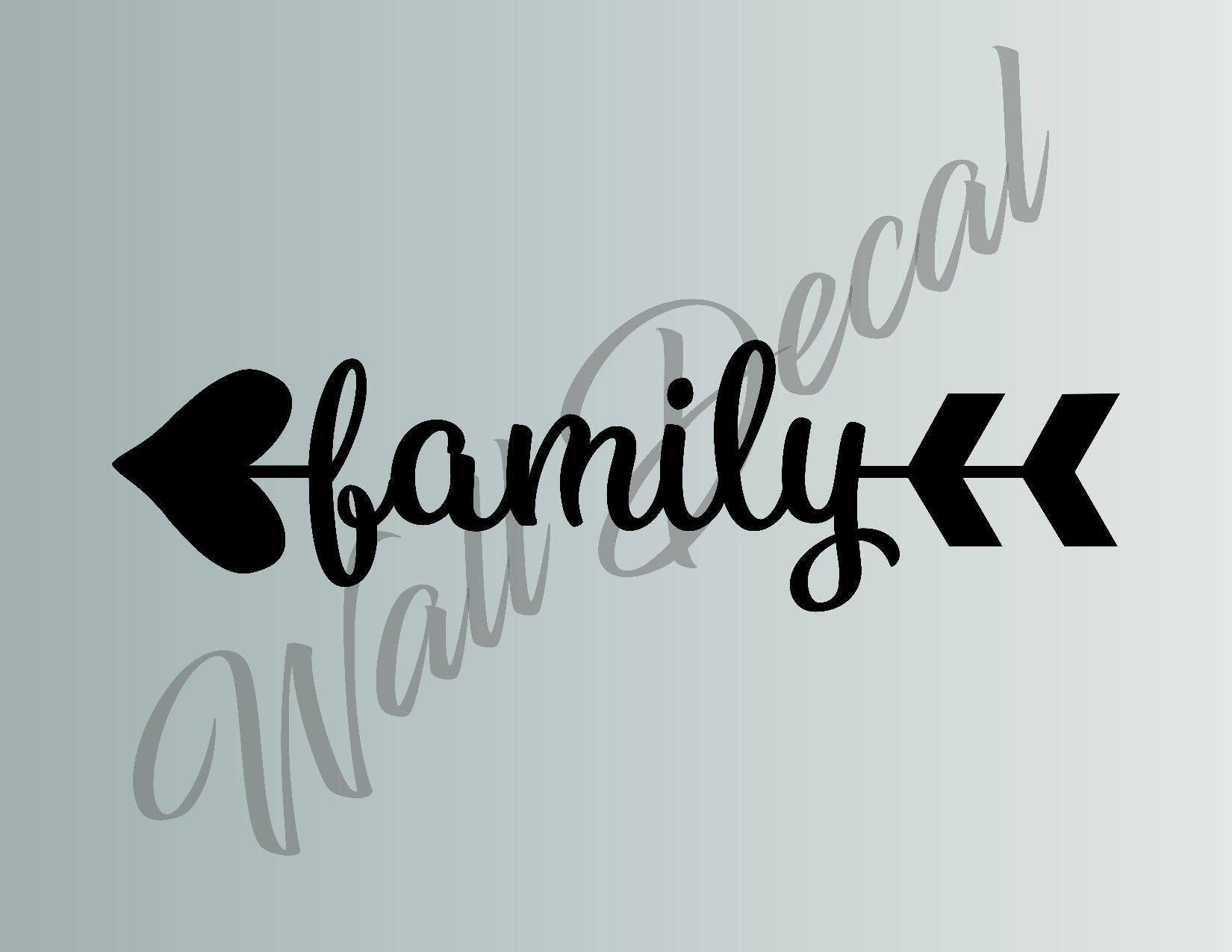 Family Heart Arrow Die Cut Vinyl Wall Decal