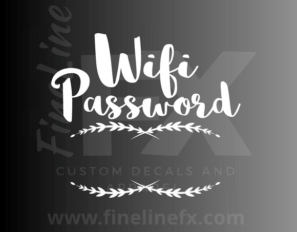 Wifi password flourish die cut vinyl decal sticker