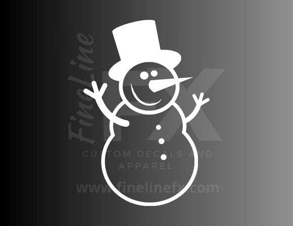 Happy Snowman Vinyl Decal Sticker Christmas And Winter Crafts Decal - FineLineFX