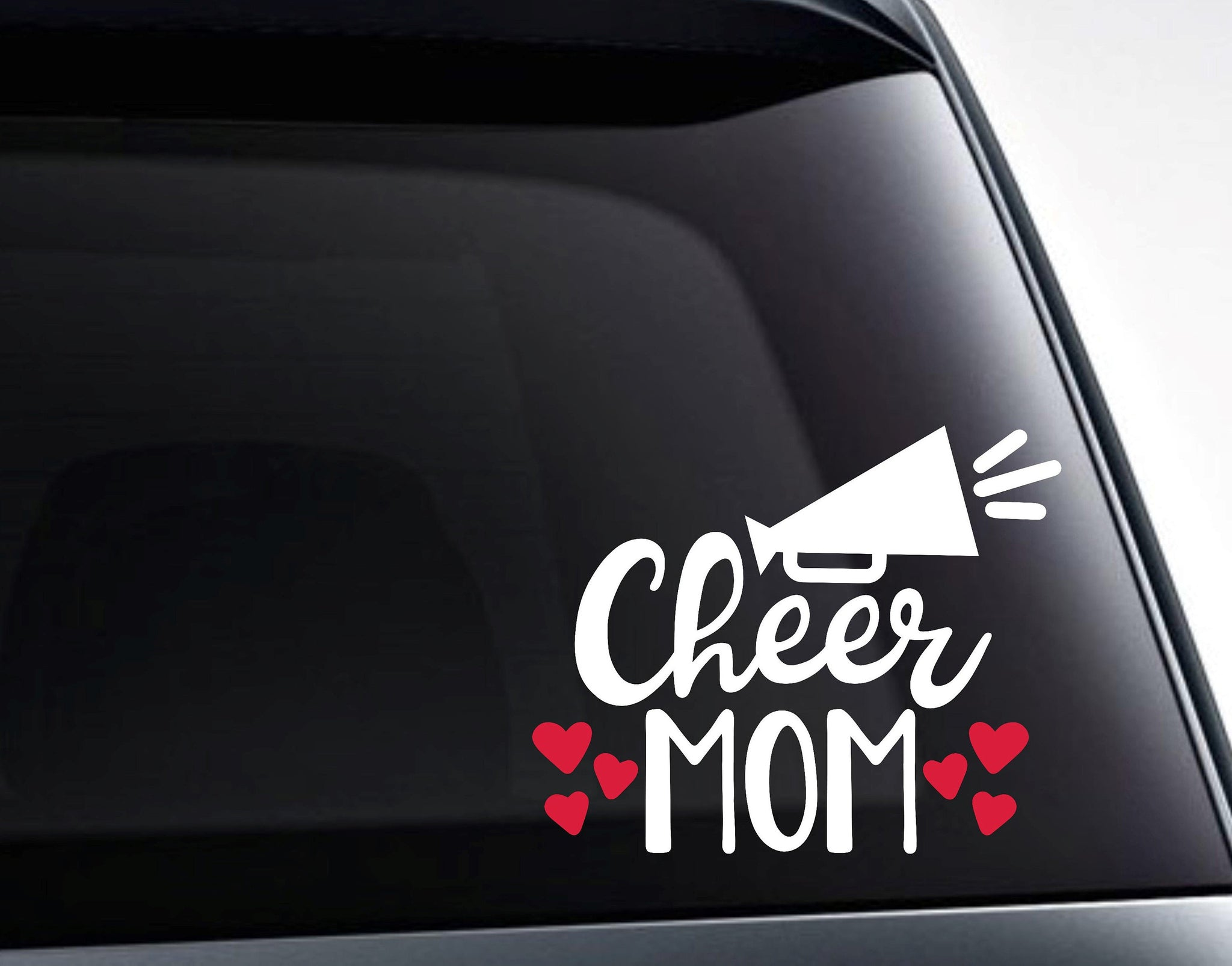 Cheer Mom Cheerleader Mom Hearts Vinyl Decal Sticker