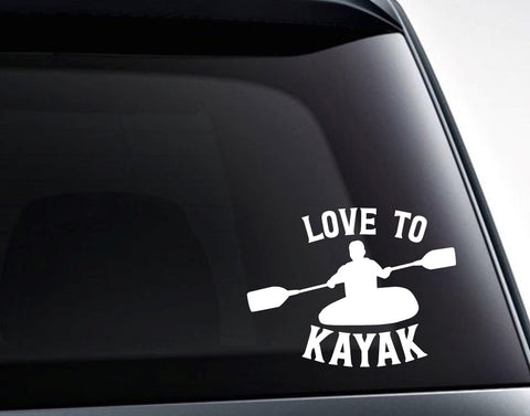 Love To Kayak Vinyl Decal Sticker
