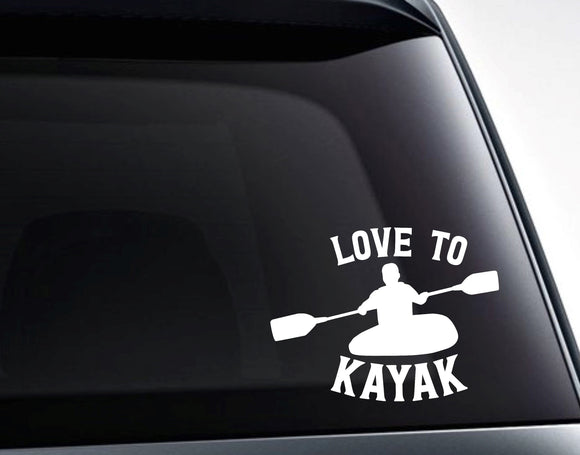 Love To Kayak Vinyl Decal Sticker - FineLineFX