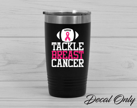 Tackle Breast Cancer Football Cancer Ribbon Vinyl Decal Sticker - FineLineFX