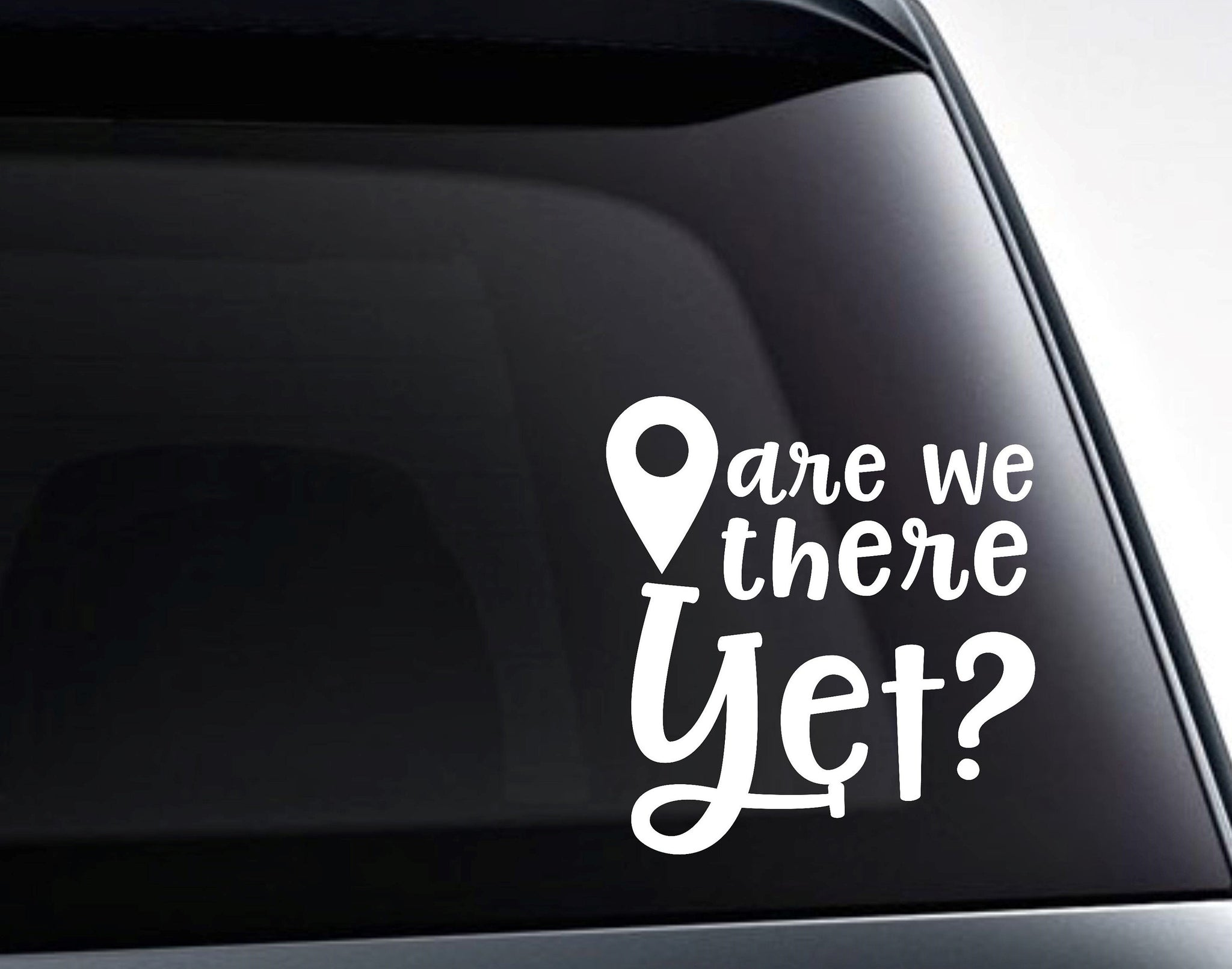 Are We There Yet? Map Marker Road Trip Vinyl Decal Sticker