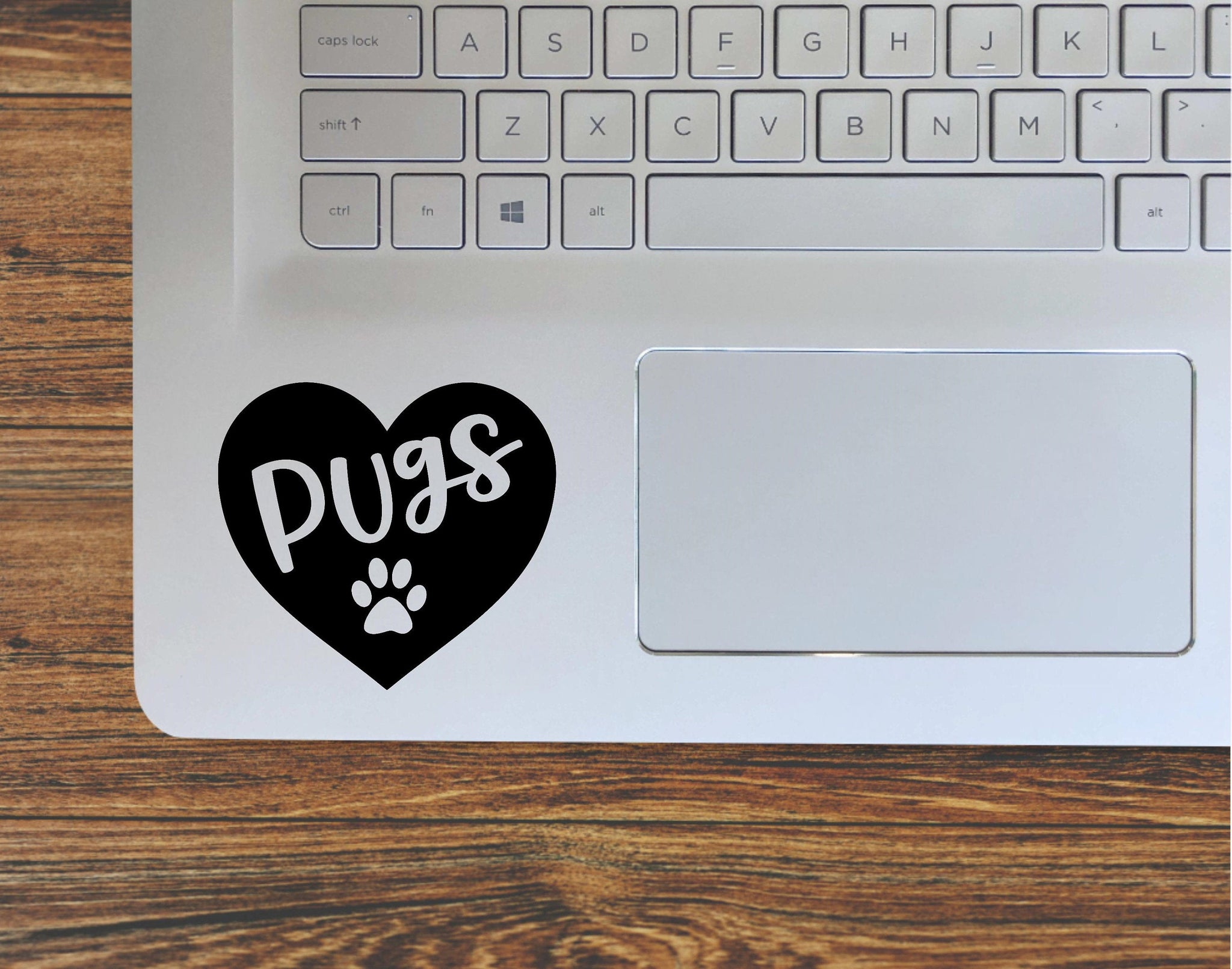 Pug Dog Paw Print Heart, Love Pugs Vinyl Decal Sticker