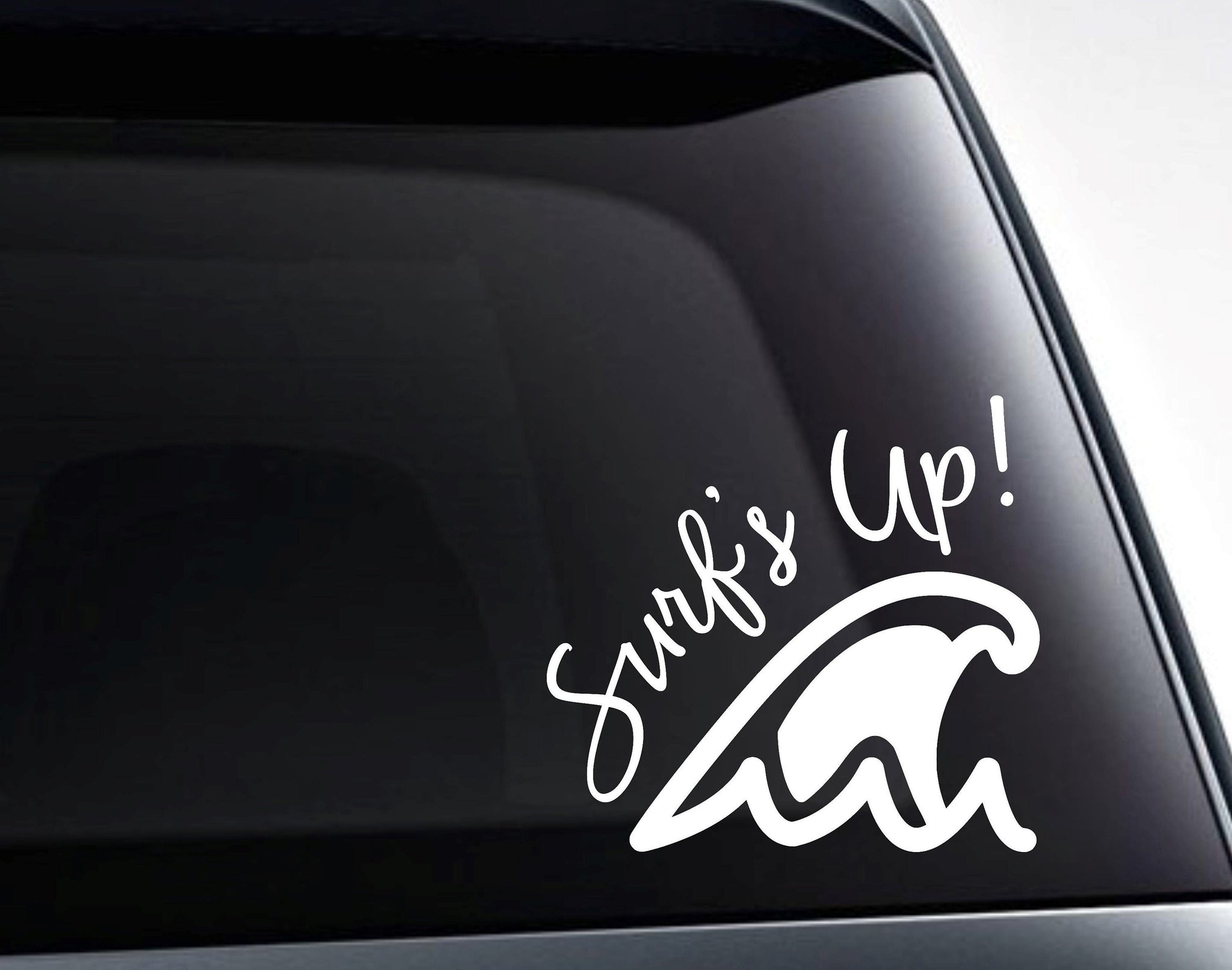 Surfs Up Surfer Ocean Wave Vinyl Decal Sticker