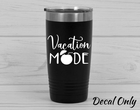 Vacation Mode Umbrella Drink Vinyl Decal Sticker