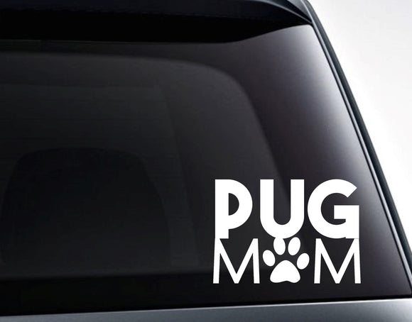 Pug Mom Pug Dog Paw Vinyl Decal Sticker - FineLineFX