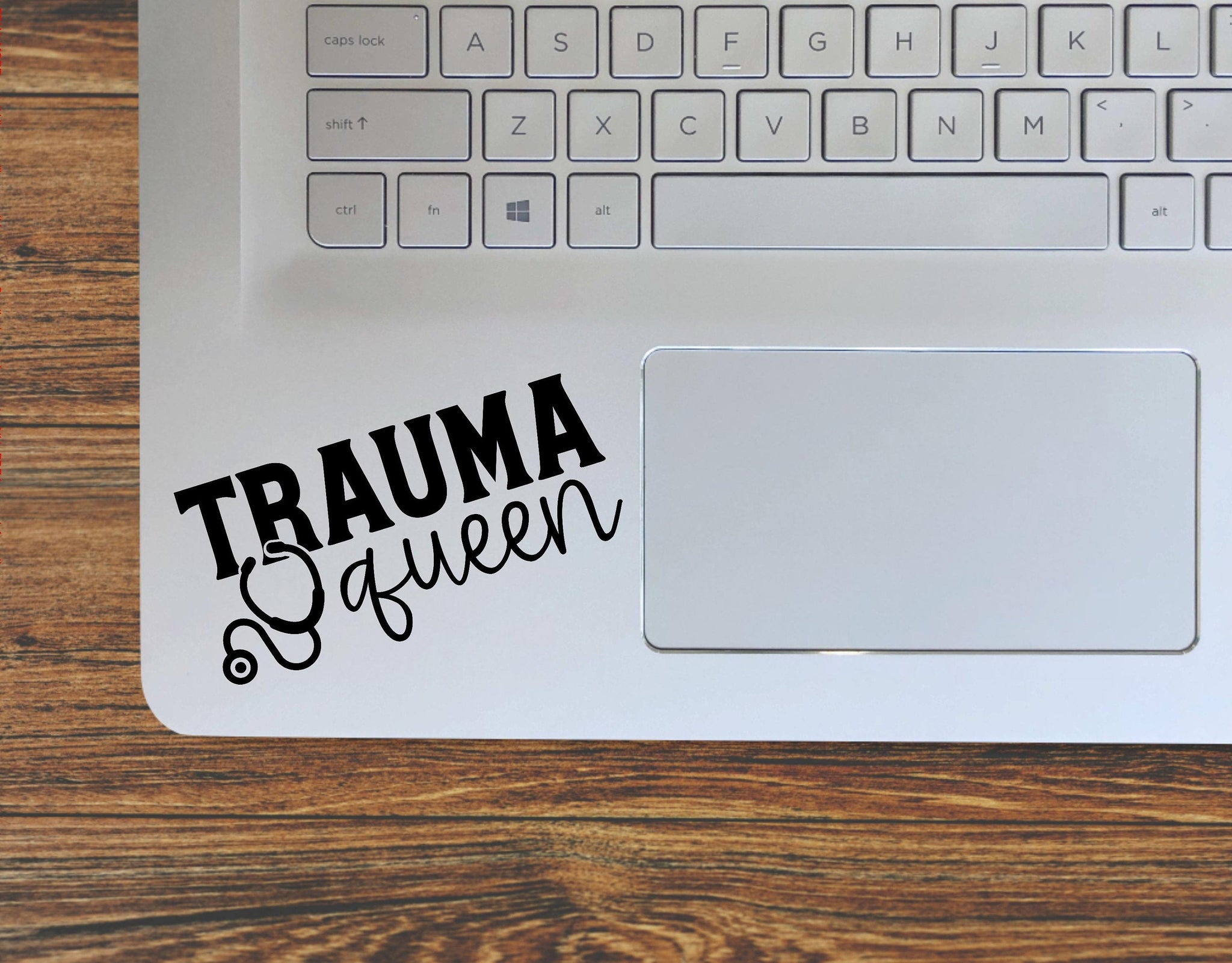 Trauma Queen Nurse Stethoscope Vinyl Decal Sticker