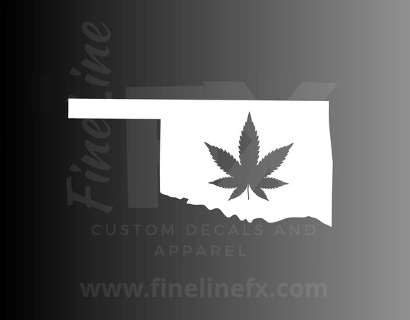 Oklahoma Marijuana Pot Leaf State Vinyl Decal Sticker - FineLineFX