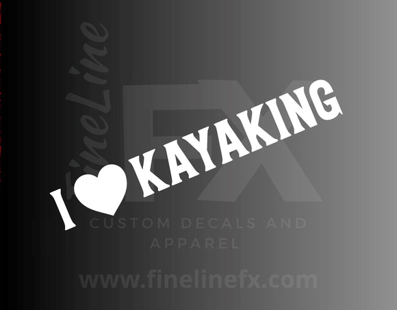 I Heart Kayaking / Love Kayaking Vinyl Decal Sticker - FineLineFX