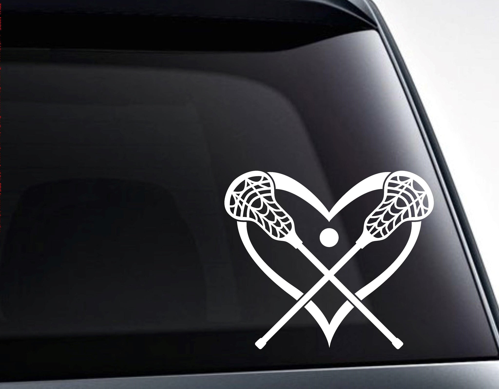 Lacrosse Sticks Heart Love Lacrosse Vinyl Decal Sticker