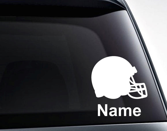 Football Helmet with Name or Custom Text Vinyl Decal Sticker - FineLineFX