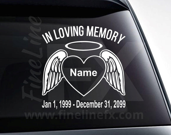 In Loving Memory Name and Dates Custom Text Heart and Angel Wings Memorial Vinyl Decal Sticker - FineLineFX