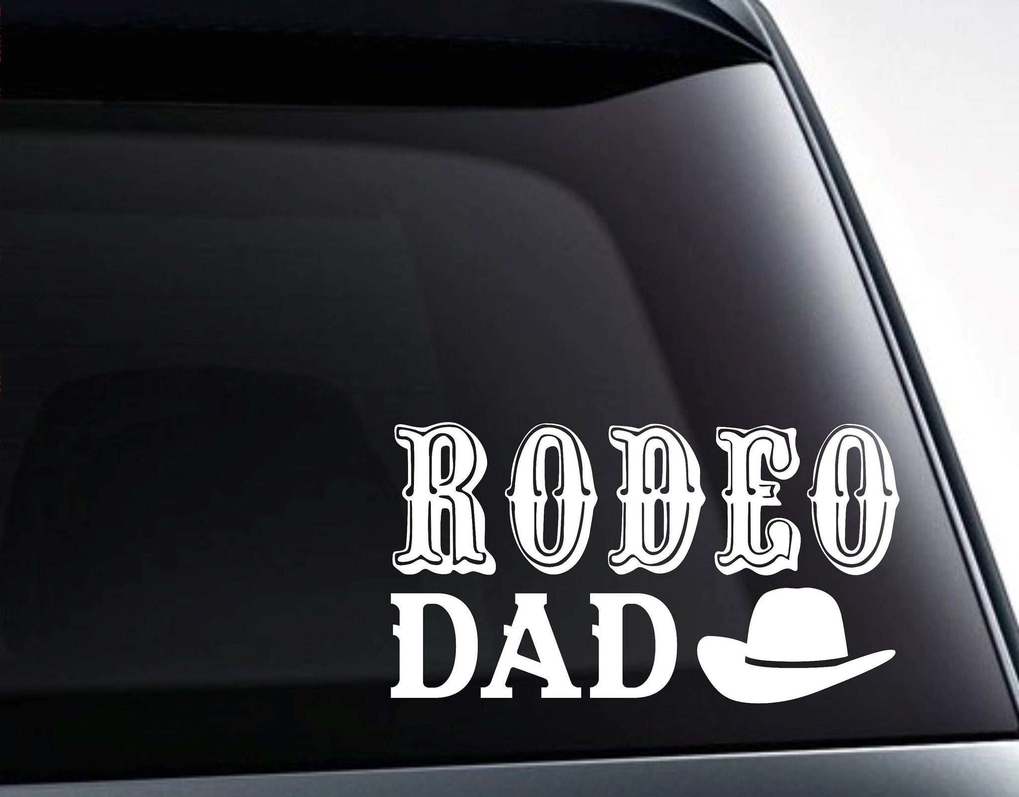 Rodeo Dad Cowboy Hat Country Western Vinyl Decal Sticker