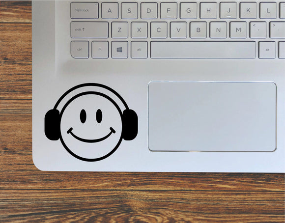Smiley Face With Headphones Vinyl Decal Sticker - FineLineFX