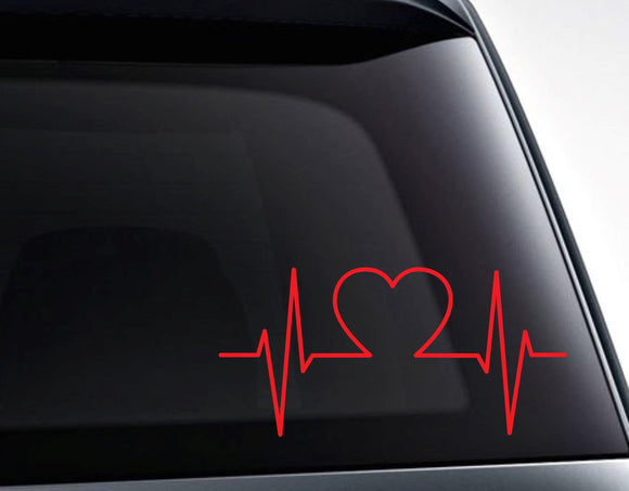 Heart EKG Heartbeat Vinyl Decal Sticker / Decals for Cars, Laptops, Tumblers and More - FineLineFX