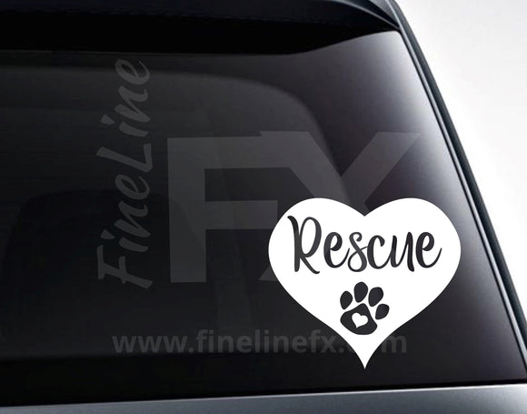Rescue Animal Heart with Paw Vinyl Decal Sticker - FineLineFX