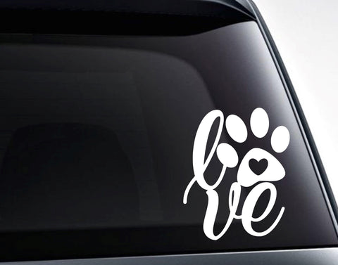 Dog Paw Print Love Vinyl Decal Sticker