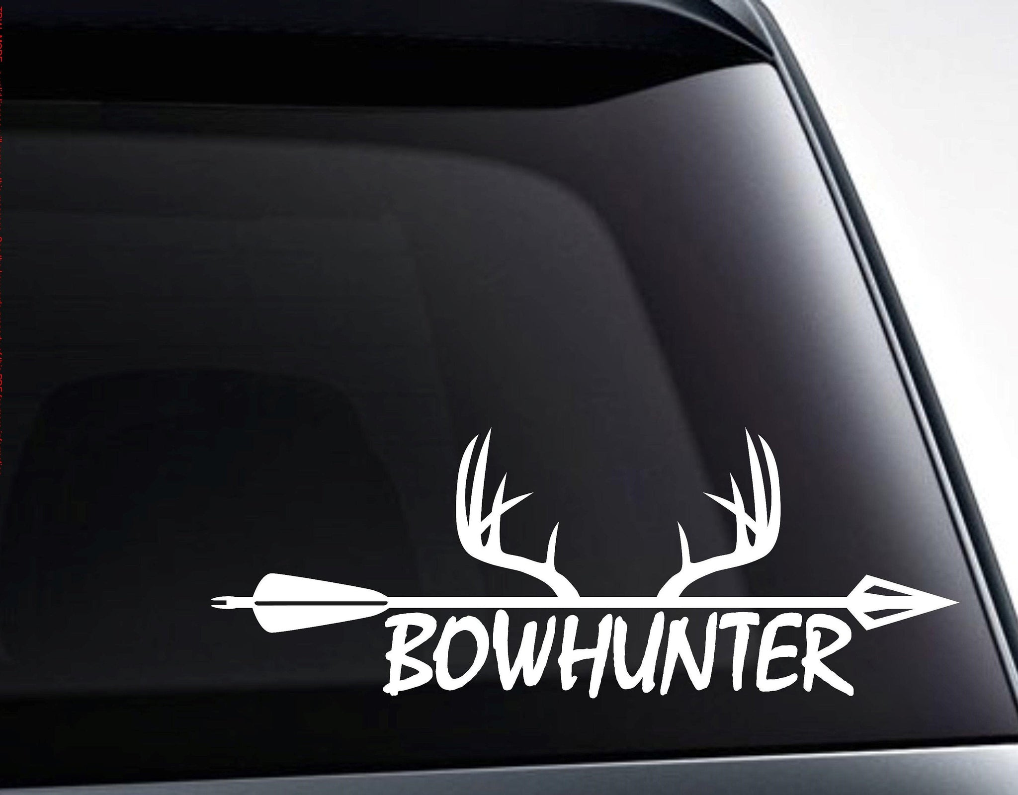 Bowhunter Arrow and Deer Antlers Vinyl Decal Sticker