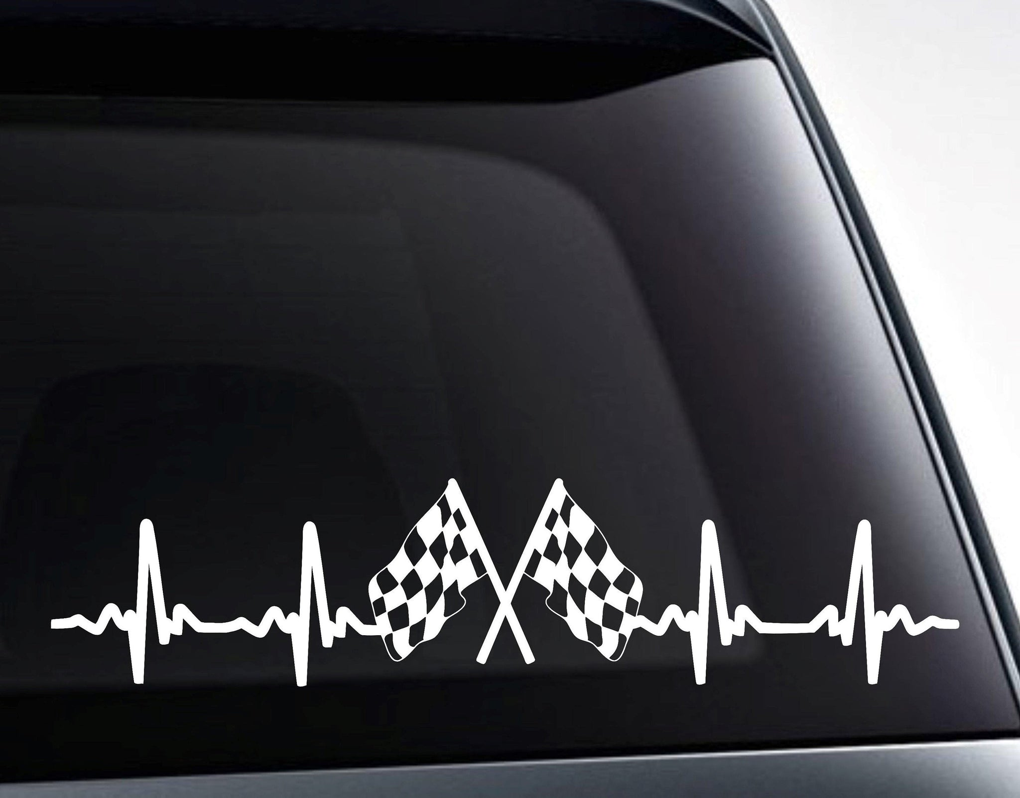 Checkered Racing Flags EKG Heartbeat Vinyl Decal Sticker
