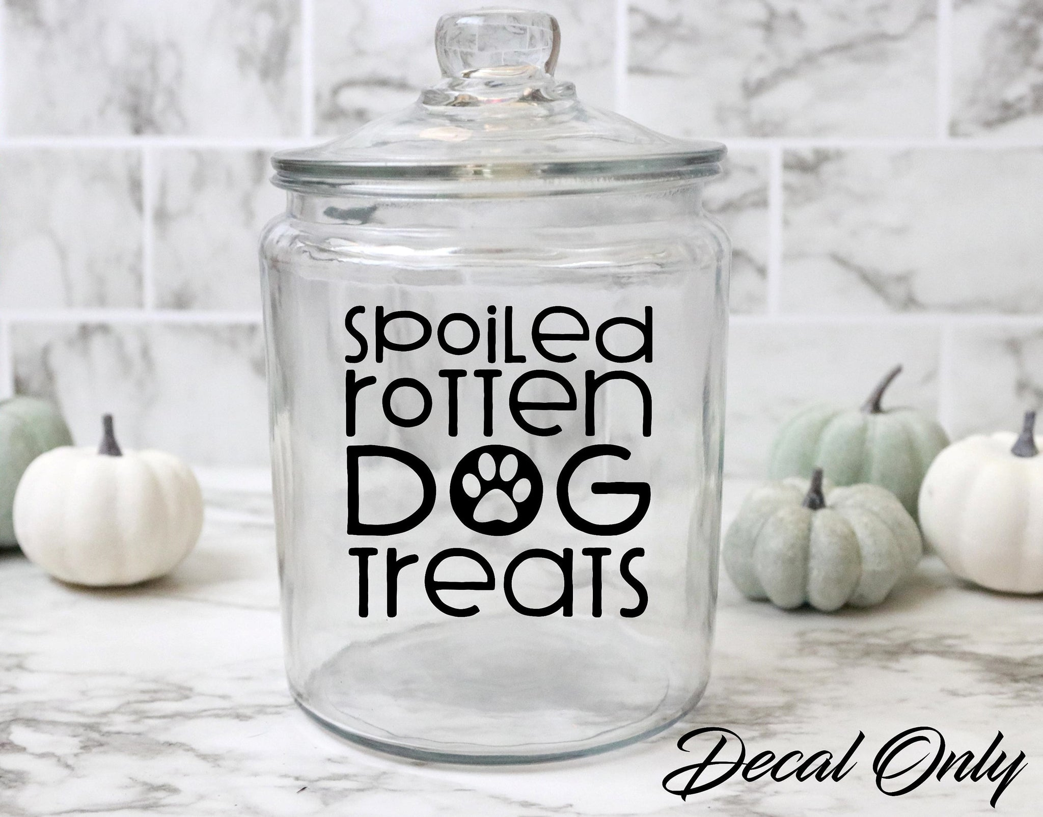 Spoiled Rotten Dog Treats Dog Paw Treat Jar Vinyl Decal Sticker