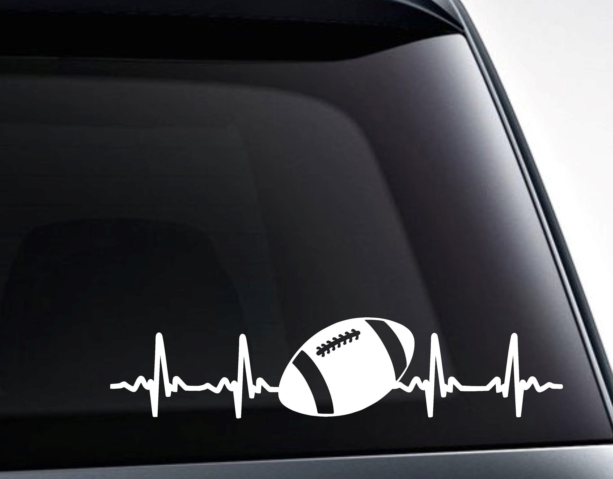 Football EKG Heartbeat Vinyl Decal Sticker