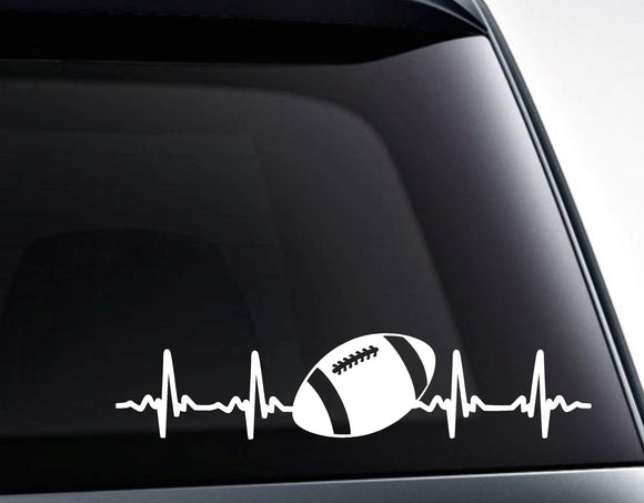 Football EKG Heartbeat Vinyl Decal Sticker - FineLineFX