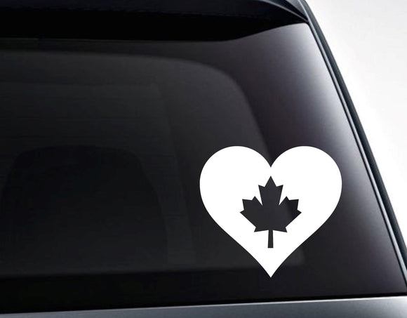 Canada Maple Leaf Heart Love Canada Vinyl Decal Sticker - FineLineFX