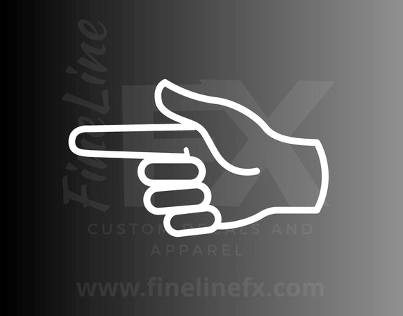 Pointing Finger Hand Gesture Vinyl Decal Sticker - FineLineFX