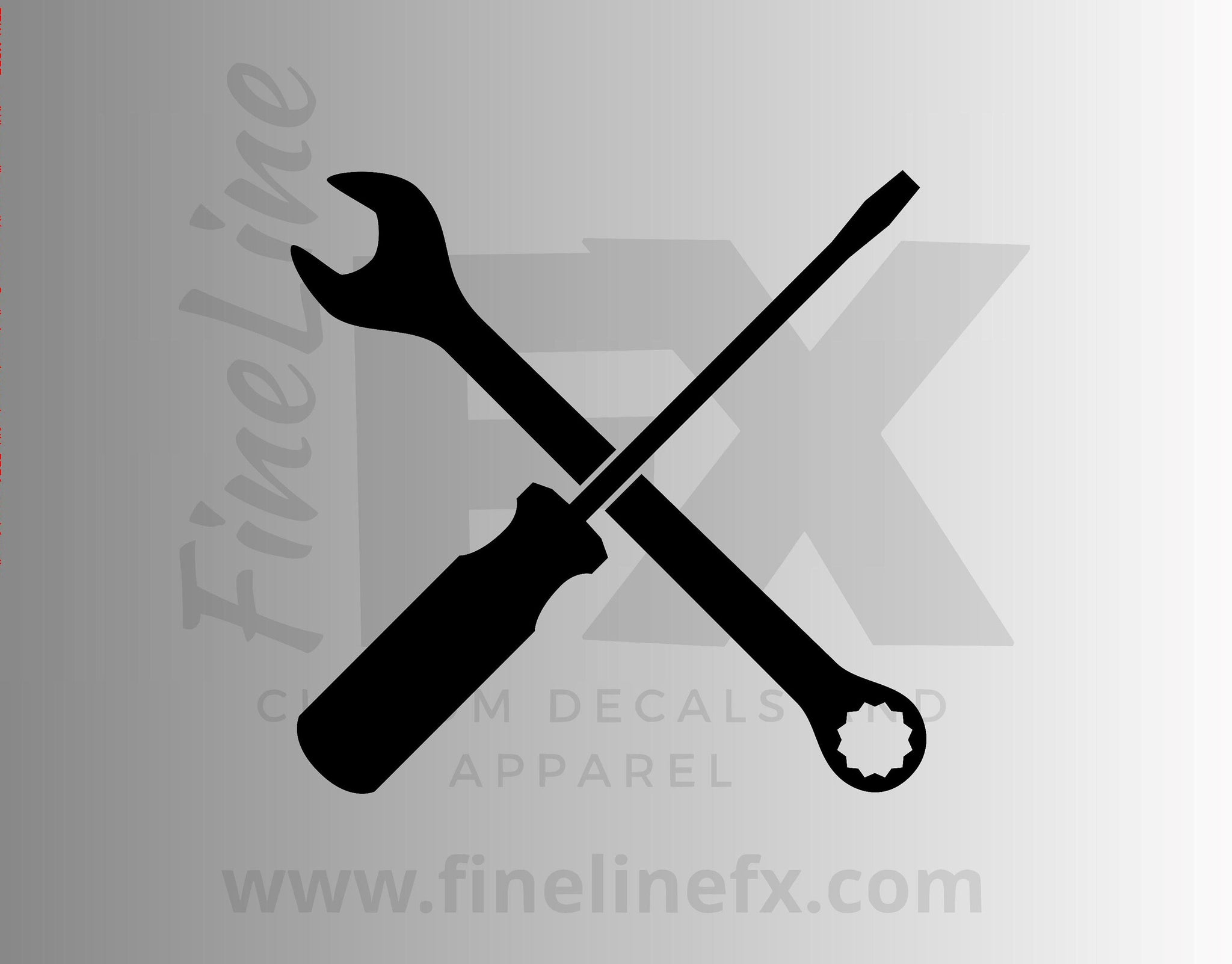 Crossed Wrench and Screwdriver Tools Vinyl Decal Sticker