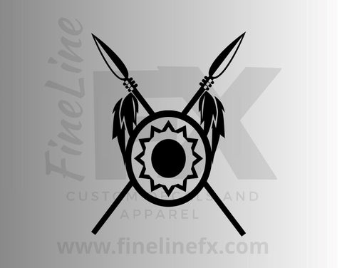 Native Indian Tribe Shield and Spears Vinyl Decal Sticker
