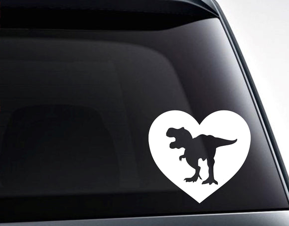 Dinosaur Heart Love Dinosaurs Vinyl Decal Sticker - FineLineFX