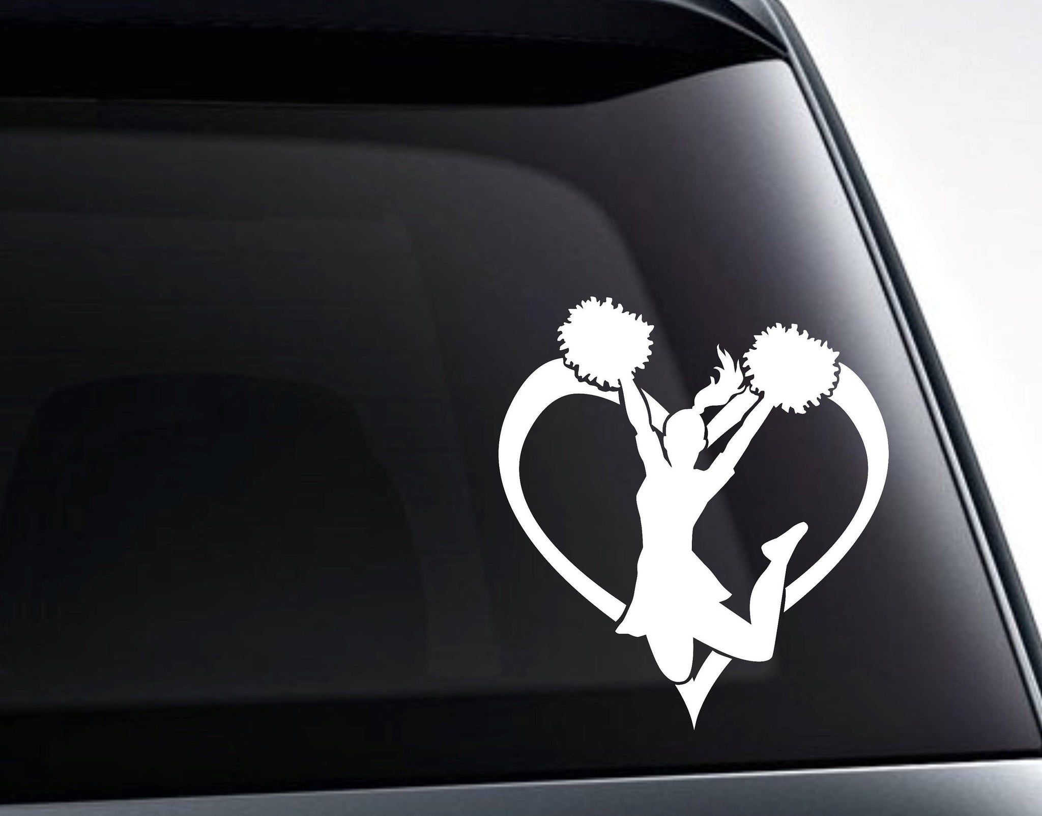 Love Cheerleading Heart Vinyl Decal Sticker