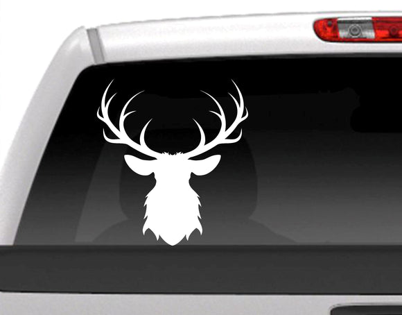 Buck Deer Antlers Silhouette Vinyl Decal Sticker - FineLineFX