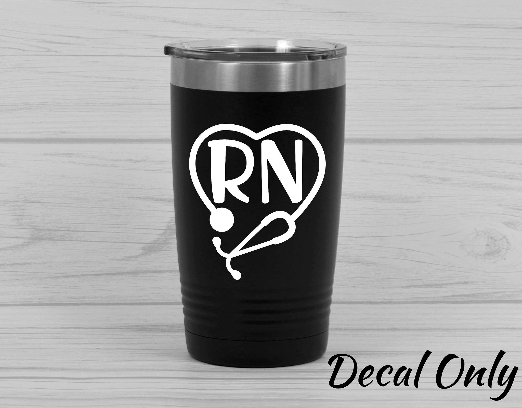 RN Nurse Stethoscope Heart Vinyl Decal Sticker