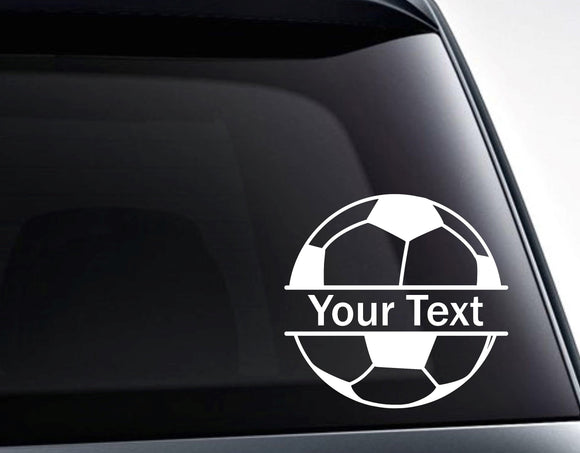 Soccer Ball Split Monogram Custom Text Vinyl Decal Sticker - FineLineFX
