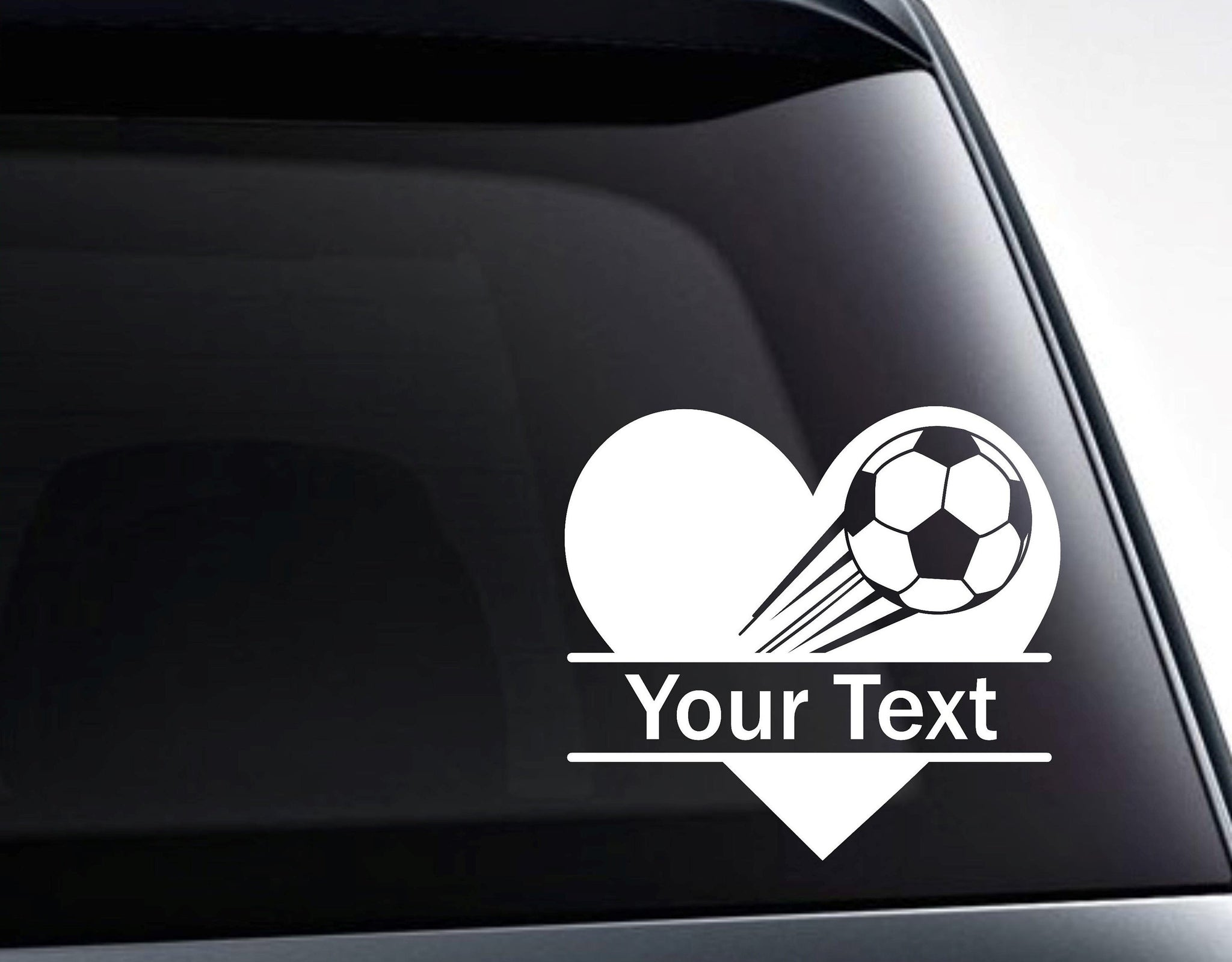 Soccer Ball Heart Split Monogram Custom Text Vinyl Decal Sticker