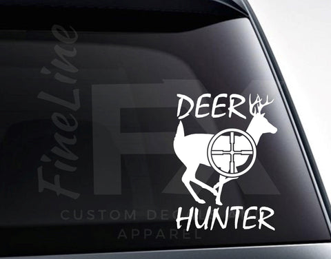Deer Hunter Deer And Rifle Scope Vinyl Decal Sticker
