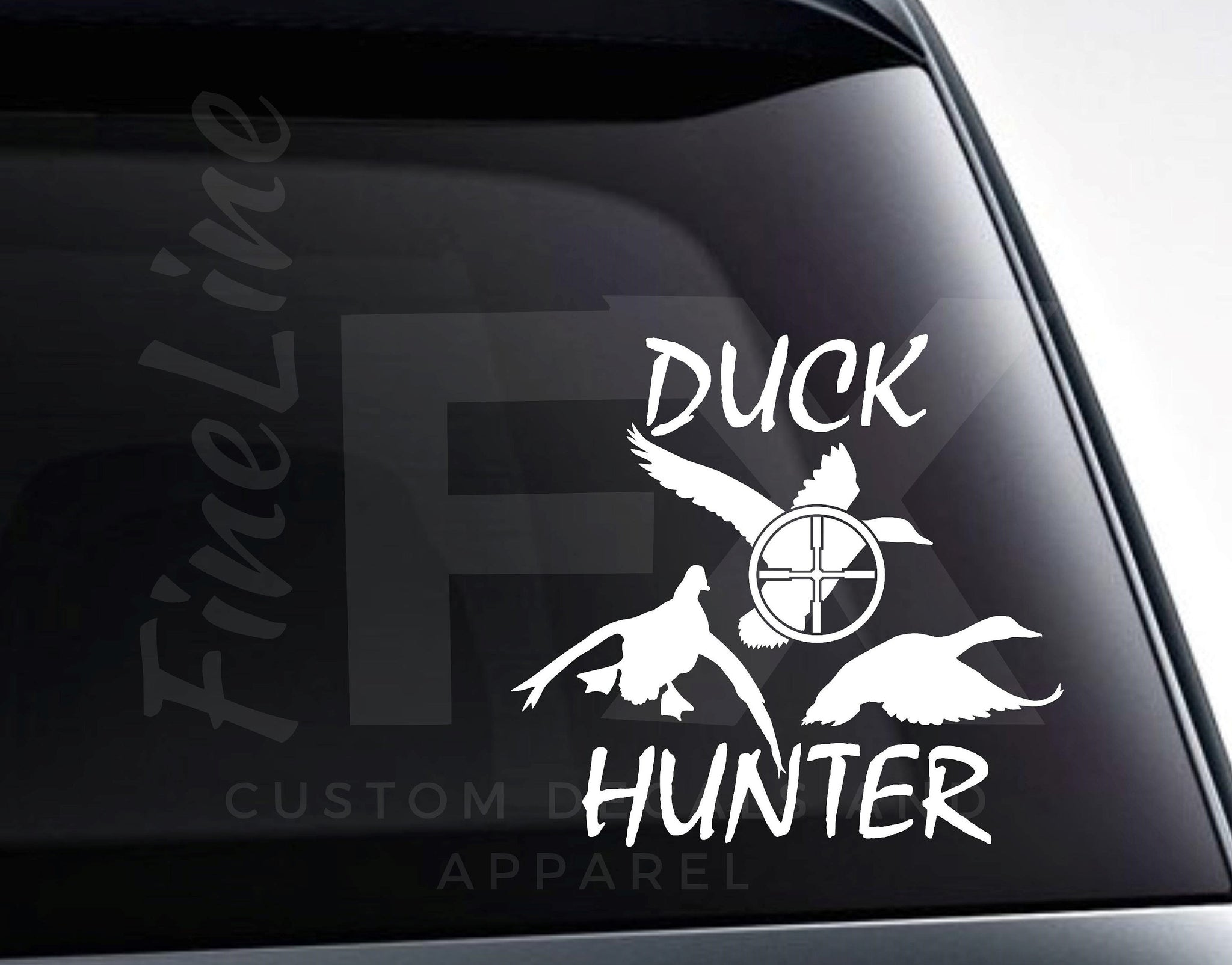 Duck Hunter Ducks And Rifle Scope Vinyl Decal Sticker