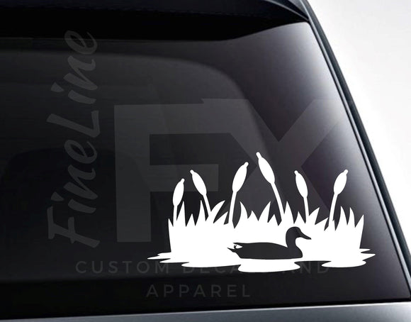 Duck in Pond Grass Vinyl Decal Sticker - FineLineFX