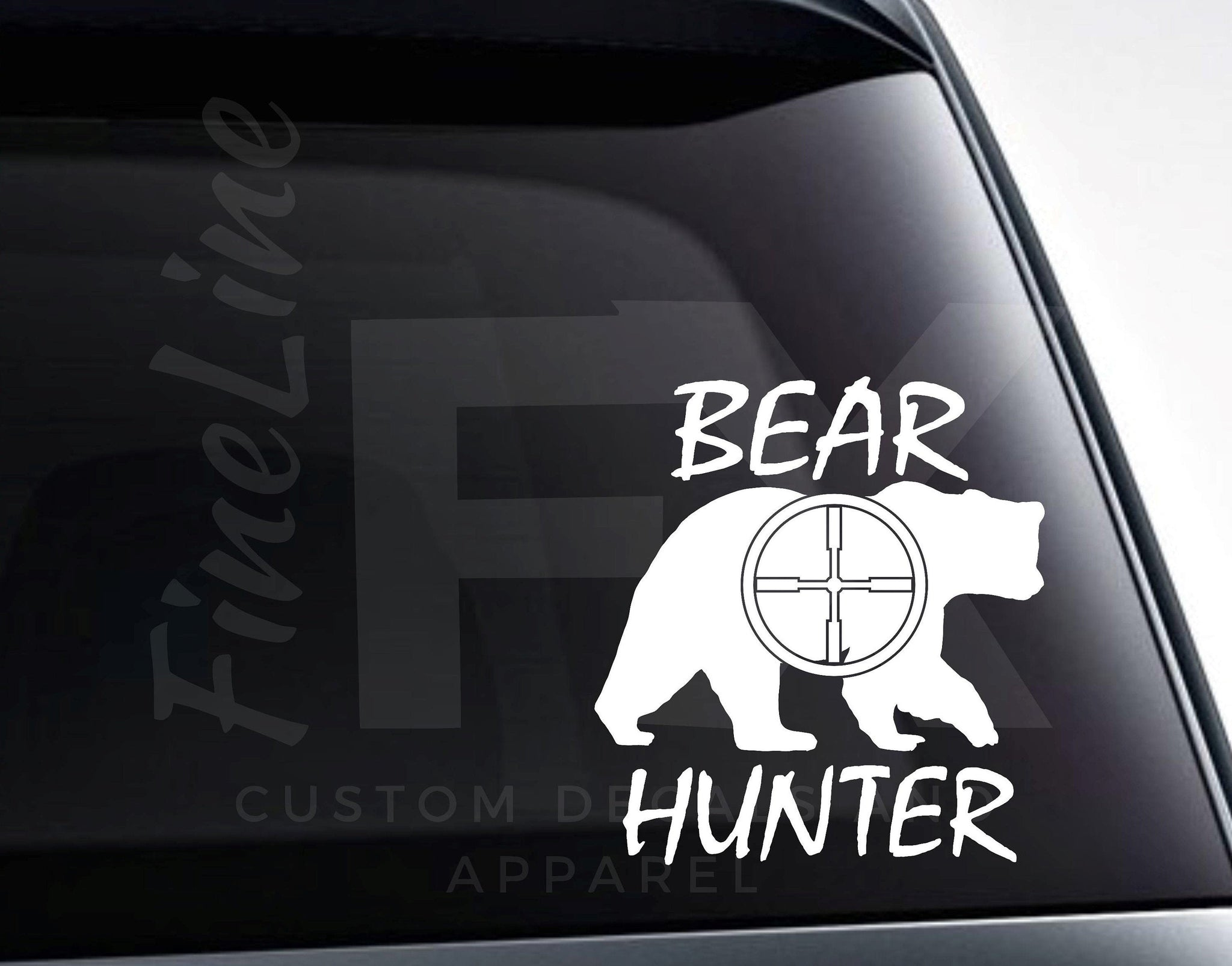 Bear Hunter Bear and Rifle Scope Vinyl Decal Sticker