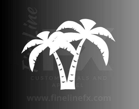 Two Palm Trees Tropical Beach Vinyl Decal Sticker