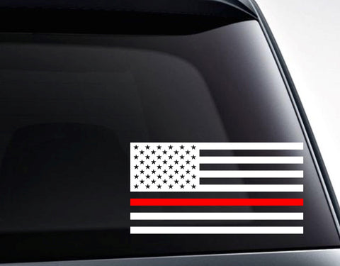 USA American Flag with Red Line for Fireman Support Vinyl Decal Sticker
