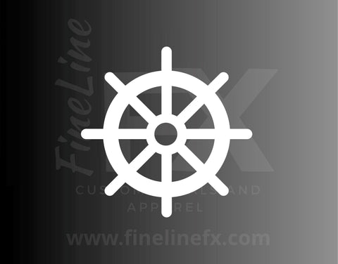 Ship Steering Wheel Nautical Vinyl Decal Sticker